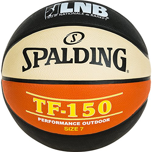 Spalding Lnb TF150 Ballon de Basket-Ball Mixte Adulte, Noir/Orange/Blanc, Taille 6