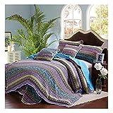 Beddingleer Tagesdecke Baumwolle Bettüberwurf Blau Gesteppt Patchwork 175 x 220 cm Single Sofa Couch Kinder Überwurf Decke im Romantische Stil