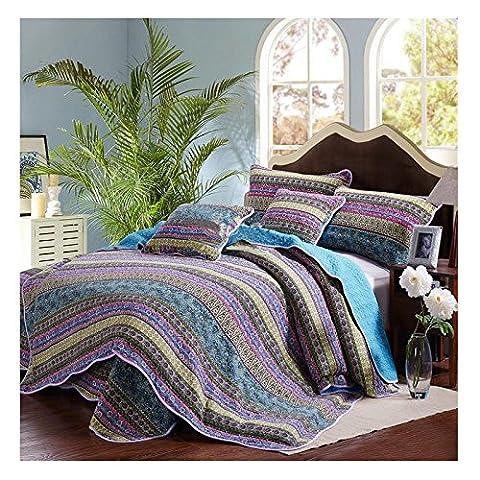 Alicemall 2 Teilig Baumwolle Tagesdecke 175x220 cm und Kissenbezug 50x70 cm für Einzelbett (Rosen Quilt Muster)