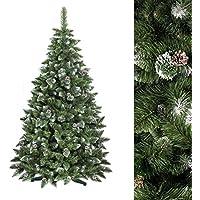 FAIRYTREES Albero di Natale artificiale PINO, Bianco naturale ricoperto di neve, Materiale PVC, vere pigne di abete, incl. supporto, 150cm, FT03-150