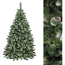 FAIRYTREES Albero di Natale artificiale PINO, Bianco naturale ricoperto di neve, Materiale PVC, vere pigne di abete, incl. supporto in metallo, 220cm, FT03-220