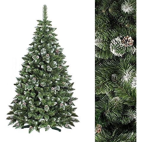FAIRYTREES Árbol de Navidad artificial modelo PINO, blanco natural nevado, material PVC, piñas auténticas, incluye soporte, 180 cm,