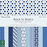 Trimcraft Dove Craft–Back To Basics–Papel decorativo (20,3x 20,3cm) 4Color azul cielo, 12diseños/4de cada, acrílico, multicolor, 2piezas