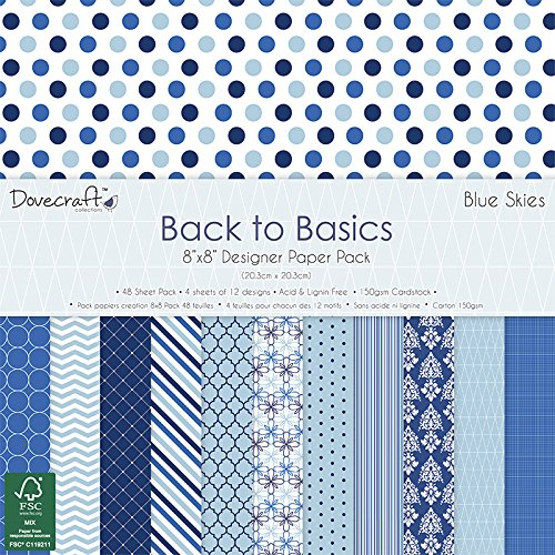 dovecraft-back-to-basics-blue-skies-pad-papier-8x8-multicolore