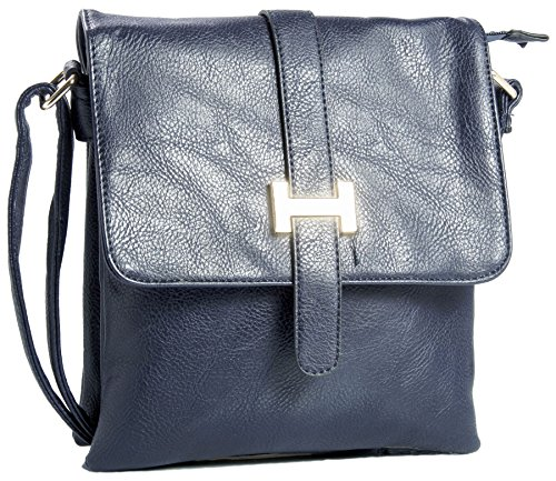 Big Handbag Shop donna Multipocket Messenger Crossbody Borsa a tracolla Navy (NL506)