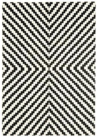 Modern Designer carpet OUSE Rug 120x170 cm ON02 Geo Mono black and white 100% cotton