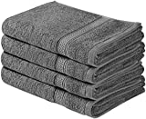 Utopia Towels Cotton Large Hand Towel Set (4 Pack, 41 x 71 cm) - Multipurpose Bathroom Towels for Hand, Face, Gym and Spa (Grey)