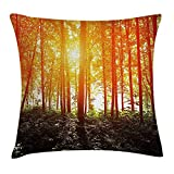 Nature Throw Pillow Cushion Cover, Foggy Forest Scenery with Sunrays Reflecting on Trees Mystic Woodland Image, Decorative Square Accent Pillow Case, 18 X 18 inches, Orange Fern Green