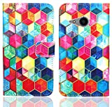 HTC One Mini 2 Handy Tasche, FoneExpert® Wallet Case Flip Cover Hüllen Etui Ledertasche Lederhülle Premium Schutzhülle für HTC One Mini 2 (Pattern 2)