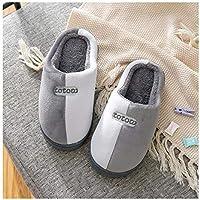 OMFGOD Slippers Zapatillas De Algodón Familia Winter Home Interiores Cálido Non-Slip Suave Confortable Piso Silencioso Zapatos,42 43,Gris