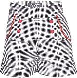 Küstenluder Damen Hose Maike Gingham Pin Up Shorts Schwarz XL
