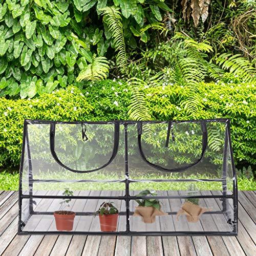 Relaxdays Gewächshaus Folie, PVC, Stecksystem, Schrägdach, Balkon & Garten, Frühbeet, HBT: 60 x 120 x 60 cm, transparent