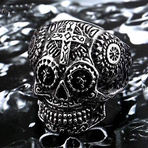 MegOK 316L Stainless Steel Colorful Geen Eyes Gothic Gold Carving kapala Skull Ring Biker Hiphop Rock Jewelry for Man LR327,White,8 (Vintage Wedding Ring White Gold)
