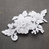 Mariell Romantic English Rose White Lace Hand Made Wedding Comb