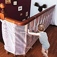 CestMall Children Safety Net Baby Fall Protection Safety Net Durable Weatherproof Adjustable Balcony/Stair Railing Safety Net for Kids Pet Toy Safety, Indoor and Outdoor Stairs Balcony or Patios-White