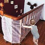 CestMall Kindersicherheitsnetz Stabiles und verstellbares Balkon- / Treppengeländer Sicherheitsnetz für Innen- und Außentreppen Balkon oder Patios-Weiß