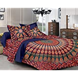 Pure Comfort Cotton Mandala Double Bedsheet Peacock Feathers Printed Design With 2 Pillow Covers-King Size, Orange