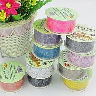 Allbusky Decorative Lace Washi Tape Colorful Sticky Adhesive Masking Tape DIY Craft Decorations Scrapbooking Decorating Stickers Set of 10 (Lace Washi Tape)
