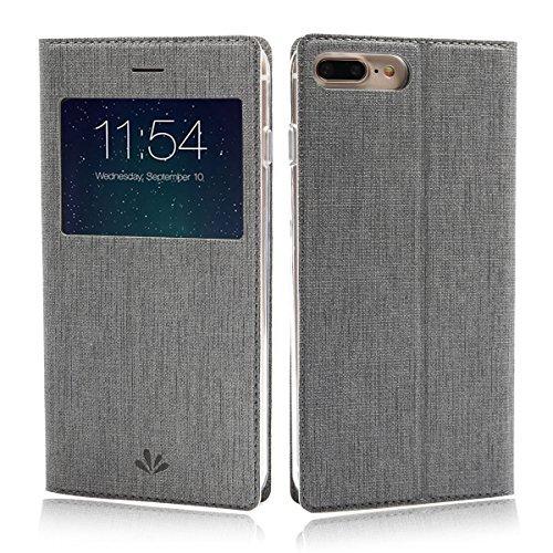 feitenn iPhone 7Plus Case Premium Ledertasche PU Flip Leder Wallet Case mit View Fenster Ständer kicstand Karte Halterung Magnetverschluss Clear TPU Slim Schutzhülle aus Leder für iPhone 7Plus (Wireless Flip-kopfhörer)