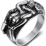 Jude Jewelers Retro Vintage Stainless Steel Lovers Couple Hug Statement Wedding Promise Anniversary Valentines Ring