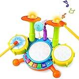 Tambour Jouet Enfants Instruments de Musique pour Les Tout-Petits Avec des Comptines Kit de Batterie lectronique ÉIdée Cadeau