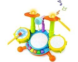 Tambor Infantil Instrumentos Musicales Infantiles Batería Juguete con Canciones Infantil Kit de Batería ElectróNica Idea de R