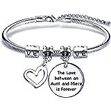 regalo di zia nipote, bracciale serpente con ciondolo in argento per regalo di compleanno natalizio da donna