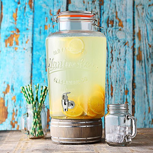 bar@drinkstuff Getränke Dispenser Nantucket 8ltr–Vintage-Kilner Clip Top Getränke Spender