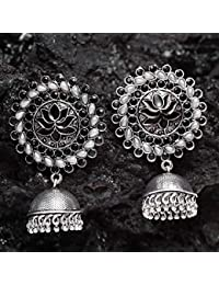 ee8f5a0fc Ferosh Neerja Black Pearl Jhumka Earrings