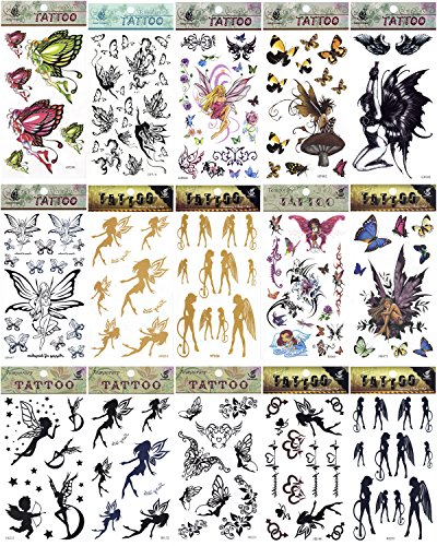 5 x Fairy Feen Engel Demon Gold Butterfly Blumen temporäre Tattoos Fancy Kleid Tattoo Halloween Body Art Make-up (Pirate Halloween-make-up)
