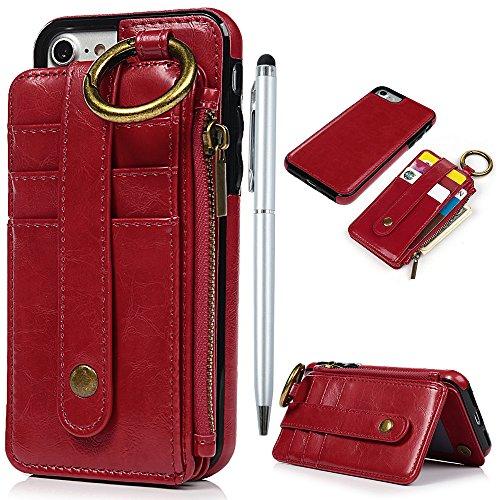 Badalink Hülle für iPhone 7 / iPhone 8 Rot Handyhülle TPUnere Schale 2 1 Schutzhülle mit Trennbar Brieftasche Kartensteckplätzen Handytasche mit Eingabestifte Rot