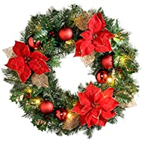 WeRChristmas Pre-Lit Decorated Wreath Illuminated with 20 Warm White LED Lights, 60 cm - Red/Gold