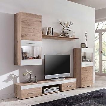 Wohnzimmer Wohnwand in Weiß Eiche LED Beleuchtung (4-teilig) Ohne ...