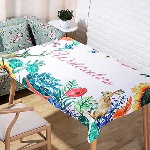 Méditerranéen style lin naturel nappes 3D impression numérique cerfs et Kangourou dessin animé tissu de table de décoration de tissus à la maison serviette de couverture rectangulaire , 90*90cm