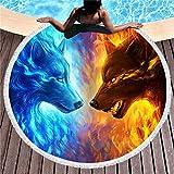 Runder Badetuch des Wolfs 3D, tragbare Picknickdecke, Modeyogamatte, Tischdecke, Sporttuch, Quastenbadtuch EIN Sonnenbad nehmend