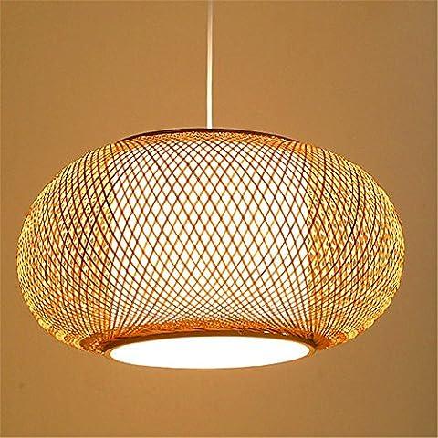 WEXLX Antiques chinois thé Tissage Bambou Chambre Salon Restaurant Corridor d'étude Protection oculaire diamètre lustres 60 cm de hauteur 25cm