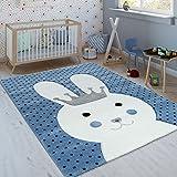 Paco Home Kinderteppich Indigo Blau Modern Trend Hase Mit Krone Gepunktet 3D Kurzflor, Grösse:80x150 cm