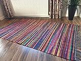 Fair Trade Flachgewebe Shabby Chic bunten Flickenteppich 120cm x 180cm