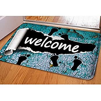 Amzbeauty Welcome Doormat For Entrance Way Personalized Print Decorative Funny Exterior Door Mat Non-slip Water Absorbent Footprint Rug 1