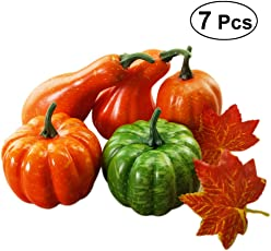 Amosfun Simulation Lifelike Artificial Pumpkins and Maple Leaves Set Table Centerpiece Thanksgiving Day Halloween Decoration Party Supplies Photo Props (5pcs Pumpkin + 2pcs Maple Leaves)