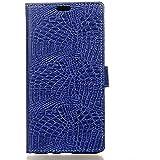 HUAWEI CASE COVER Cubierta de silicona suave con ranuras de tarjeta patrón de textura de piel de cocodrilo caso de cuero folio caso de pie para Huawei disfrutar de 7 (P9 Lite Mini) ( Color : Blue )