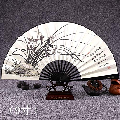 Orchid Black Kostüm - XIAOHAIZI Handklappventilator,Ink Painting Orchid Black Black Handle Summer Creative Chinese Suitable for Wall Decoration Folding Fan Home Decorations