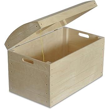Creative Deco XXL Grande Coffre Boîte de Rangement Bois | 40 x 30 x 24 cm | Non Peinte Caisse ...