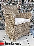 dasmöbelwerk 2er Set Polyrattan Stuhl mit Sitzpolstern Rattan Stuhl Relax Sessel Gartenmöbel Gartenstuhl LILIE Cappuccino