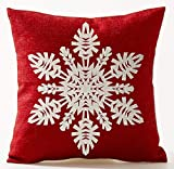 Guanggs Merry Christmas present red background Snowman Cotton Linen Throw Pillow covers Case Cushion Cover Sofa Decorative Square 18 inch (9)