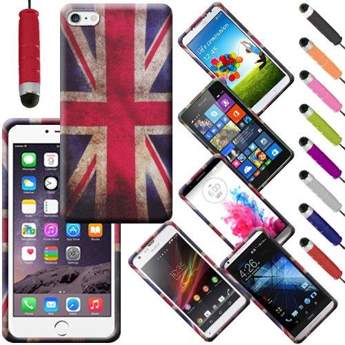 Monde de mobile® Apple iPhone 6G 11,9cm Imprimé arrière en caoutchouc Style Coque en gel silicone + stylet d'écran LCD, Two Owls On a Branch, a Retro Union Jack