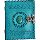 PRASTARA Vintage Leather Handmade Paper Notebook with Metal Lock (7X5-inch, Blue)