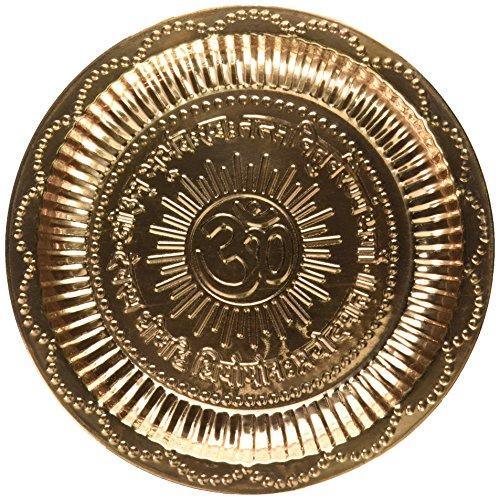Handgefertigte Kupfer Hindu Puja Thali Mit Om-Symbol Und Gayatri Mantra - Diwali Dekoration - Mandir-Tempel-Zusatz - Spirituelle Geschenke - Indischen Dekor