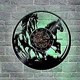 OOFAY Clock@ Wanduhr aus Vinyl Schallplattenuhr Vintage LED Familien Zimmer Dekoration Tiere Pferd 3D Design-Uhr Wand - Durchmesser 30 cm
