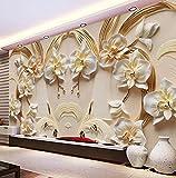 Kuamai Benutzerdefinierte Fototapete 3D Relief Schmetterling Orchidee Hintergrund Wandbild Wohnzimmer Tv Sofa Home Decor Klassische Tapeten Brötchen-400X280cm